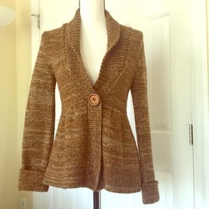 WOOL SWEATER COAT WITH CLIP BUTTON NWOT